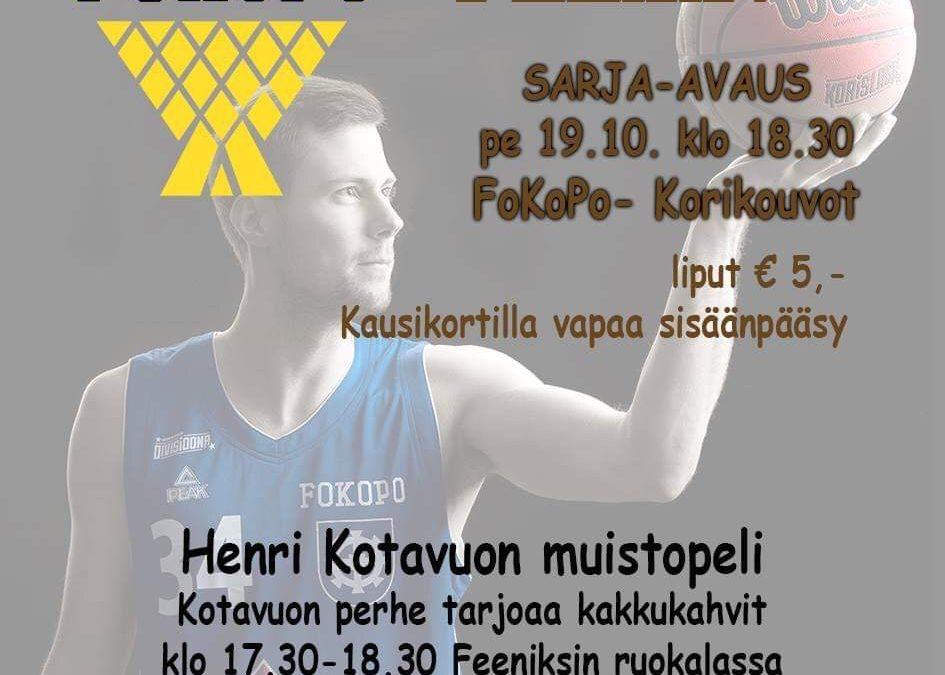 Otteluennakko sarja-avaus kotona 19.10 FoKoPo-Korikouvot